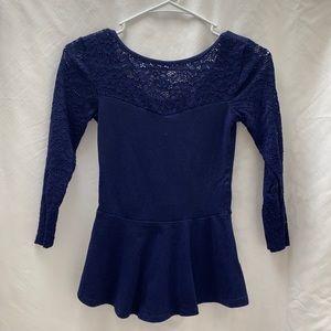 Express 3/4 Sleeve Navy Lace Peplum Shirt